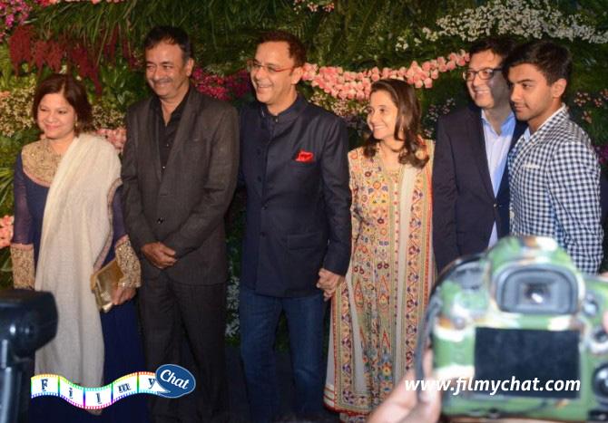 Rajkumar Hirani, who directed Anushka in PK, with his wife Manjeet, PK Producer Vidhu Vinod Chopra and his wife, movie commentator Anupama Chopra