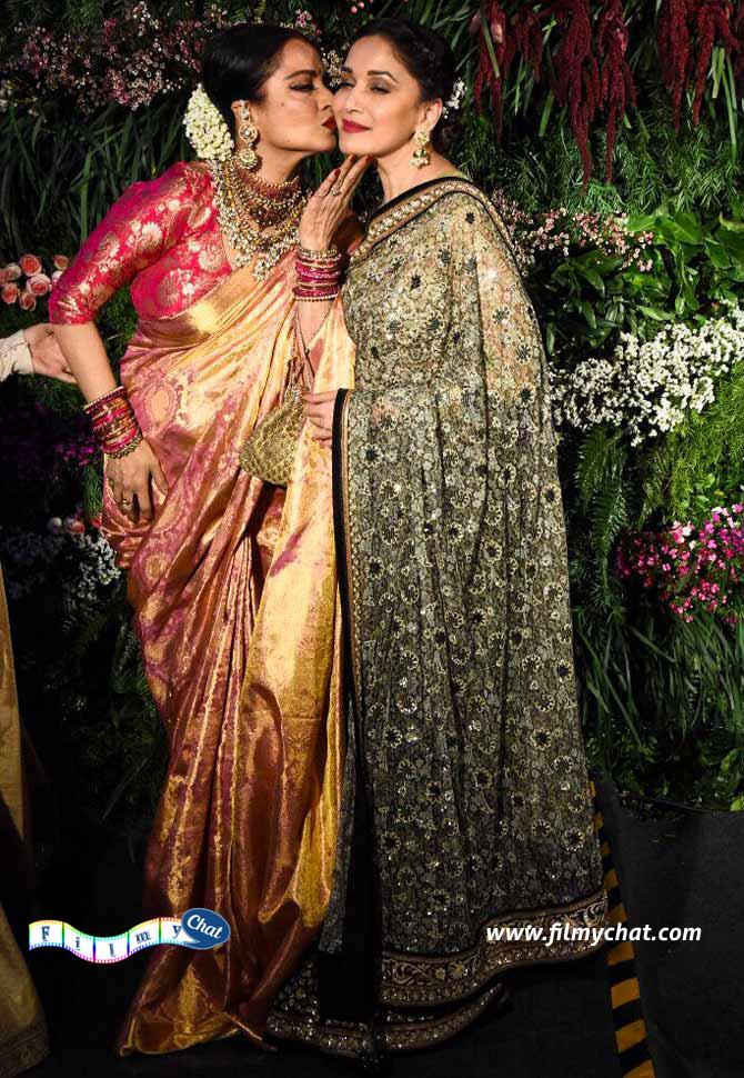 Rekha kissing Kangana and Madhuri!